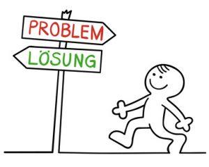 Männchen und Schild mit Wegweiser Problem und Lösung in zwei unterschiedliche Richtungen
